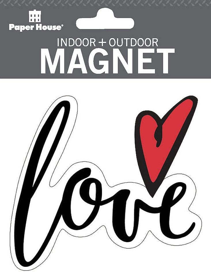 "Paper House Productions 3.75"" x 3.25"" Die-Cut Love Heart Magnet for Cars, Refrigerators and Lockers"