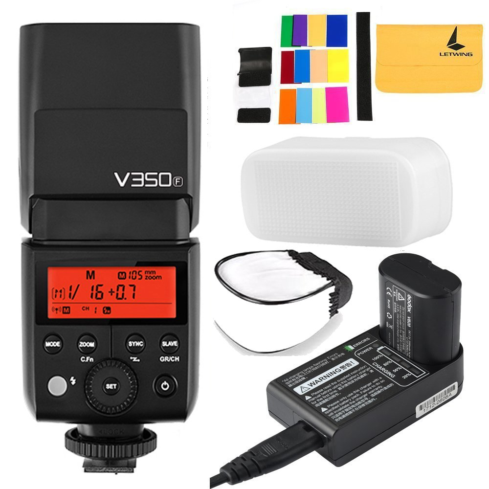 Godox V350F TTL 2.4G GN36 HSS 1/8000s Camera Flash with Built-in Rechargeable 2000mAh Li-ion Battery for Fuji Cameras GFX50S X-Pro2 X-T20 X-T2 X-T1 X-Pro1 X-T10 X-E1 X-A3 X100F X100T