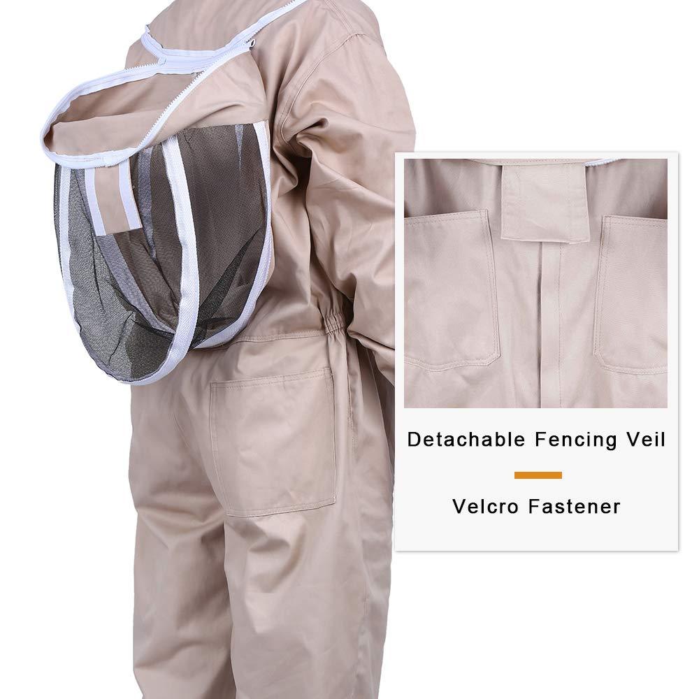 Mufly Abito da apicoltura con Staccabile Velo Rotondo Protezione Totale Costume Giacca da Apicoltore per Unisex Apicoltore Professionista L, Bianca