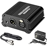 Aokeo 1-Channel 48V Phantom Power Supply with Adapter, Bonus+XLR 3 Pin Microphone Cable for Any Condenser Microphone…