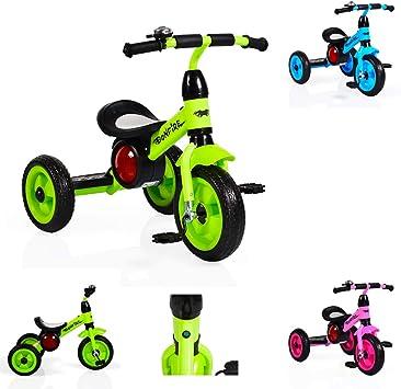 Moni Hoguera de Triciclo con neumáticos de EVA, Estribo, música, luz, Timbre de Bicicleta, Color:Verde: Amazon.es: Juguetes y juegos