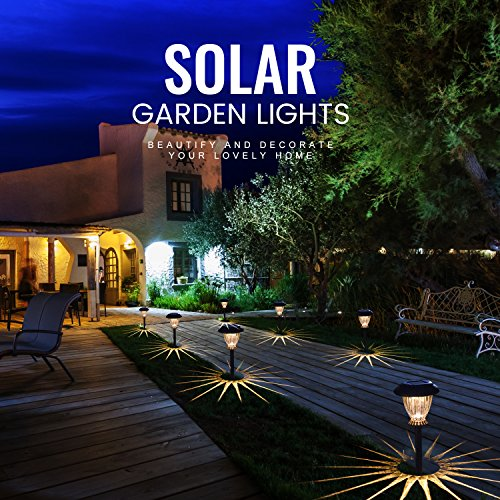 SUNWIND Solar Pathway Lights Outdoor Waterproof Glass Landscape Lights 6-Pack Warm White LED for Garden,Path,Patio Yard,Walkway and Driveway (Bronze Metal) by SUNWIND (Image #5)