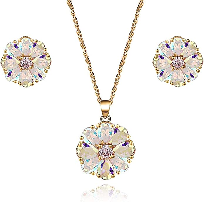 Earring Ring Pendant Elegant Real Gem Stone White Opal Jewel Set with CZ flower