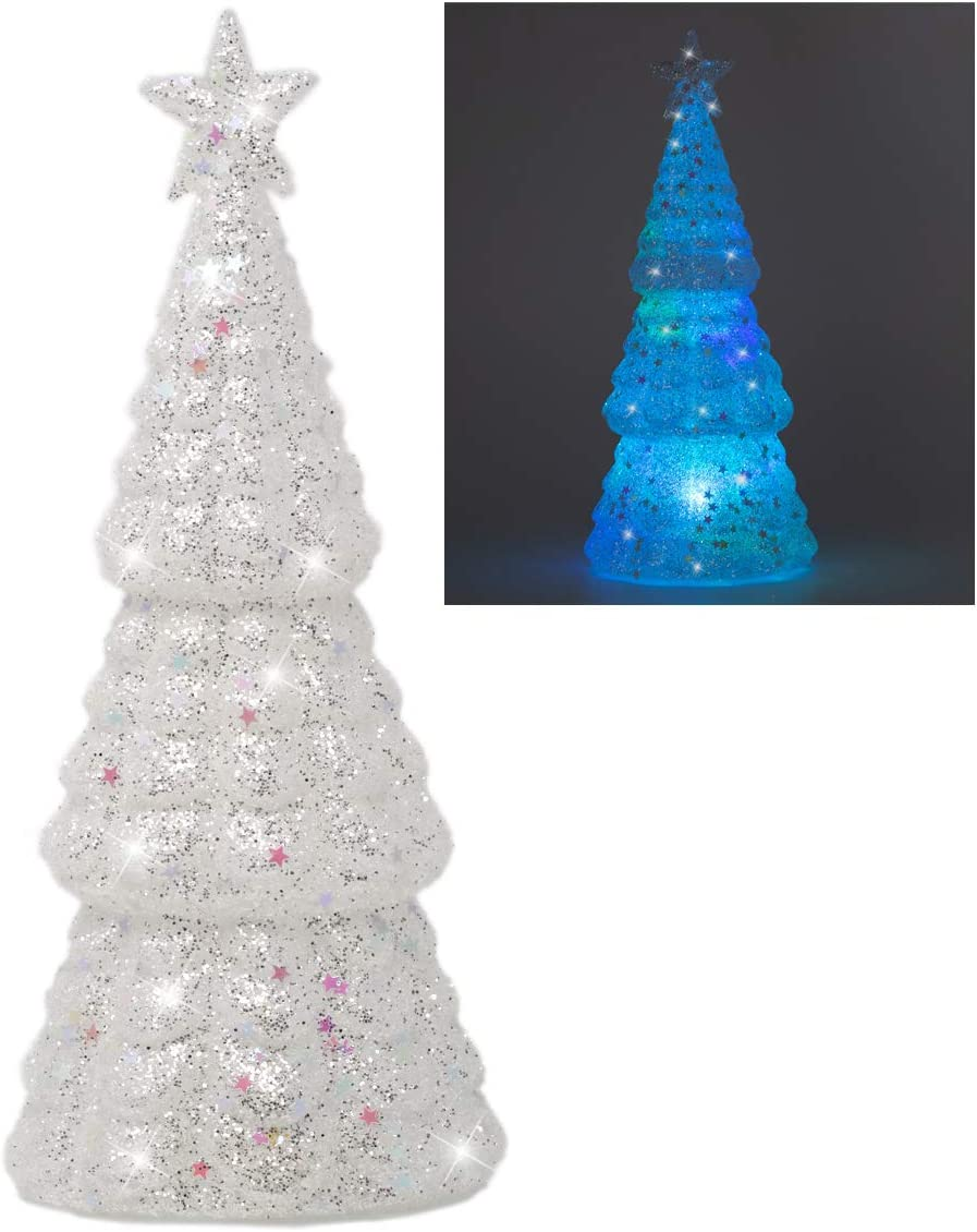 White Frosted Christmas Tree - LED Lighted Table Top Glass Tree Figurine with Iridescent Glitter Accents - Holiday Centerpieces Window Tabletop Mantel