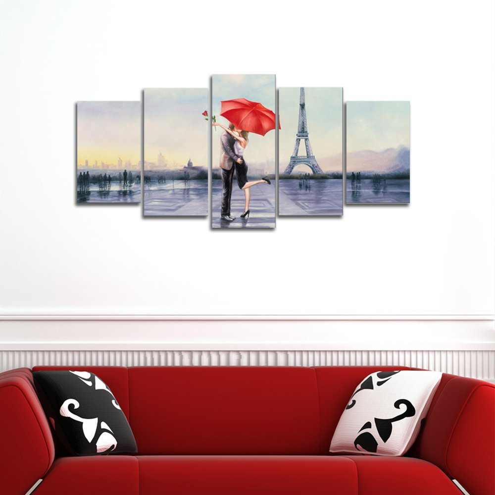 Pyradecor Large Modern 5 Piece Wrapped Giclee Canvas Prints Love in ...