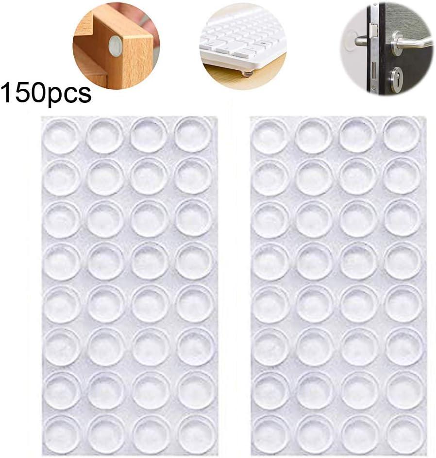 INTVN 150 topes adhesivos de goma transparente, almohadillas parachoques, amortiguadores de ruido, para puertas, armarios, transparente: Amazon.es: Bricolaje y herramientas