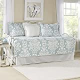 Blue and White Floral Printed, 5-Piece Daybed Set and Shabby Chic Style Included Cross Scented Candle Tart