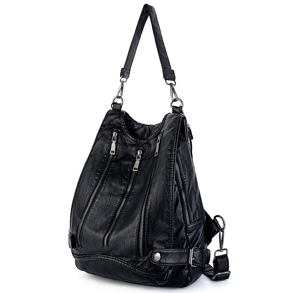 UTO Women Backpack Purse PU Washed Leather Rivet Studded Convertible Ladies Rucksack Shoulder Bag (_Black)