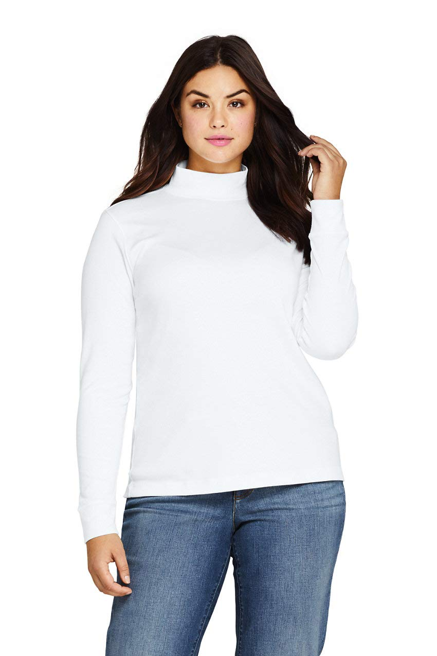 Lands' End Women's Plus Size Relaxed Cotton Long Sleeve Mock Turtleneck 1X White by Lands' End
