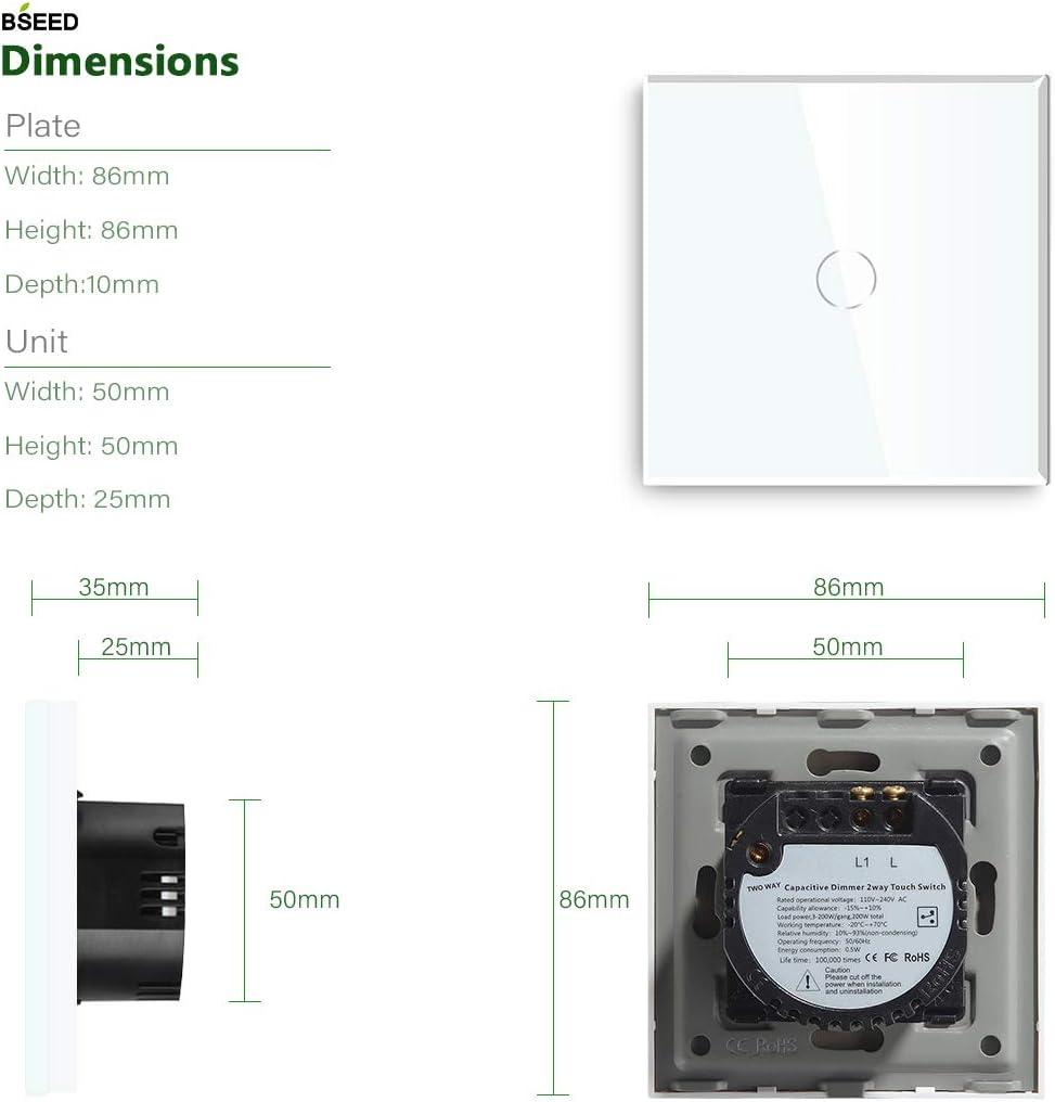 BSEED Interruptor regulador de luz 1 Gang 2 Way LED Dimmer Switch Interruptor de luz con pantalla t/áctil interruptor t/áctil de pared Blanco Adaptador Led requerido