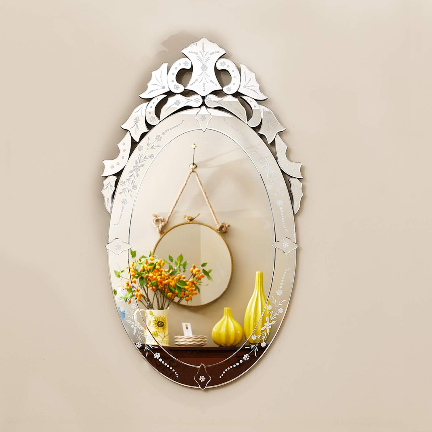 """KOHROS Wall Mounted Squared Mirror, Venetian Mirror Decor for The Living Room, Bathroom, Bedroom (W 24"""" X H 42"""" Oval)"""