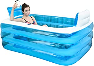 XL Blue Color Inflatable Bathtub Plastic Portable Foldable Bathtub Soaking Bathtub Home SPA Bath, 160x120x60cm