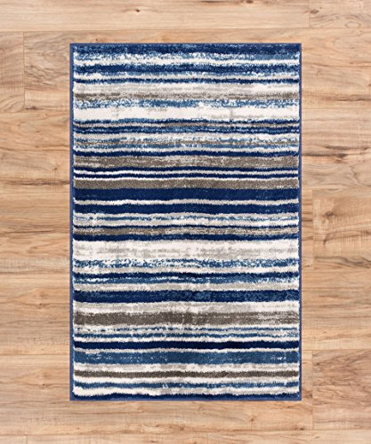 Well Woven Riviera Stripe Blue & Beige Vintage Modern Geometric Abstract Shabby Chic Door Mat Accent Small Rug 2x3 (1'8