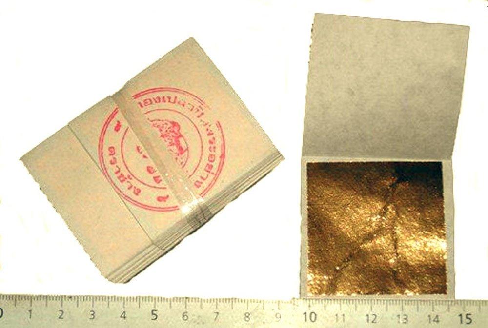 Packung mit 50 Blatt 24 K Gold 45 mm X 45 mm in Base 100% Ech sim depot
