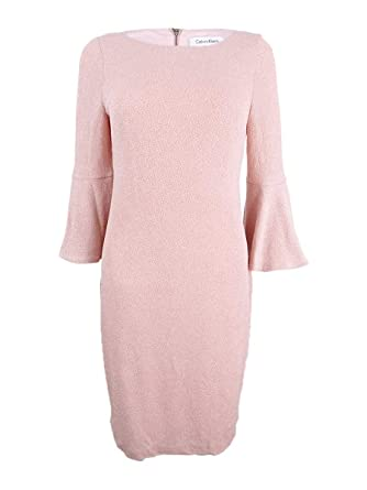 066087f0fbf4 Image Unavailable. Image not available for. Color: Calvin Klein Womens Bell  Sleeves Metallic Party Dress ...