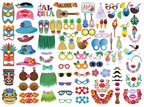 Etryo 96Pcs Large Luau Photo Booth Props - Decoration Supplies for Hawaiian Luau Beach Tropical Summer Birthday Office Parties. Luau Party Decorations for Funny Parties. ()