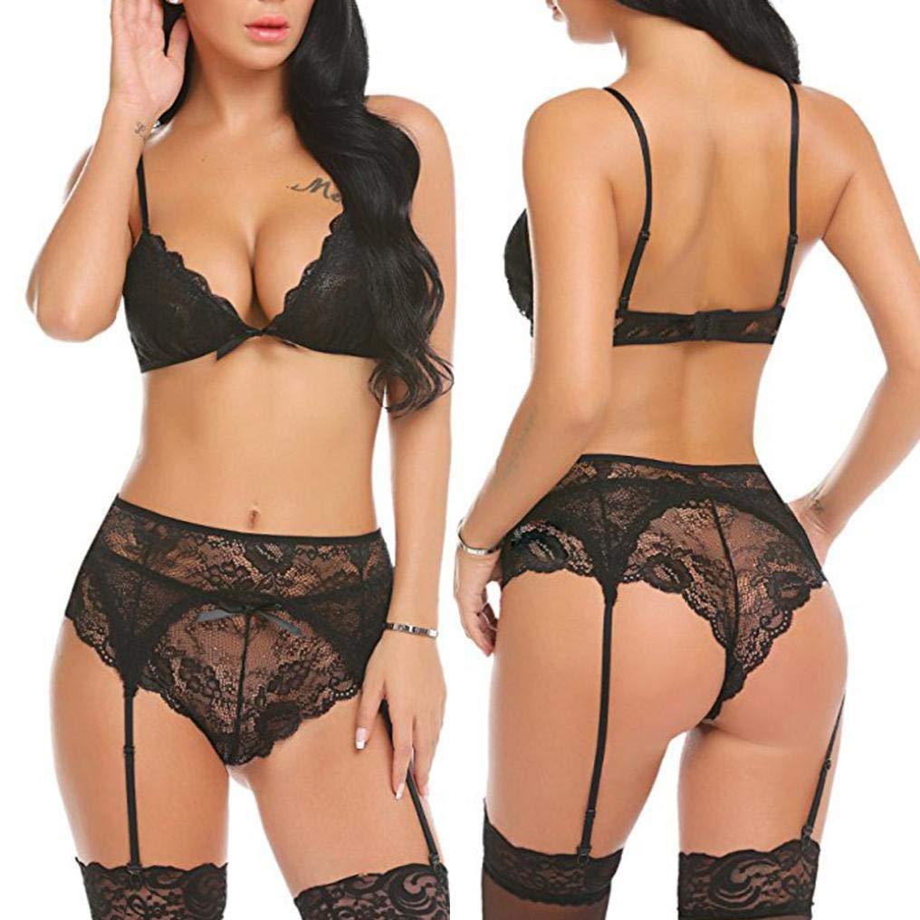 Conjuntos De Lencería Mujer, ❤ Modaworld Moda Lencería Erotica Sexy de Encaje para Mujer Tallas Grandes Bodydoll Negro Ropa Interior con Ligas: ...