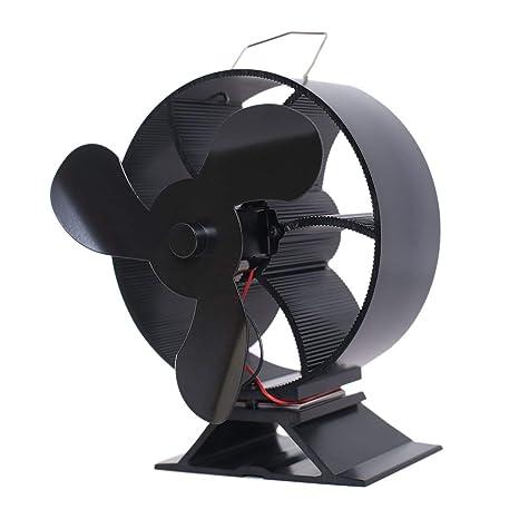 Lorenlli Ventilador de Estufa de 3 Cuchillas Calentador de leña/Estufa de leña/Chimenea