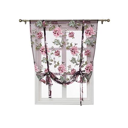SINOGEM Kitchen Short Sheer Curtains Burnout Roman Blinds Sheer Panel Tulle  Window Treatment Door Curtains Home