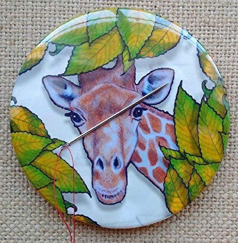 BIG Magnetic Needle Minder, 3.5, Giraffe Peeking Through Leaves, From Original Art,Pin Cushion 3.5 Pin Cushion