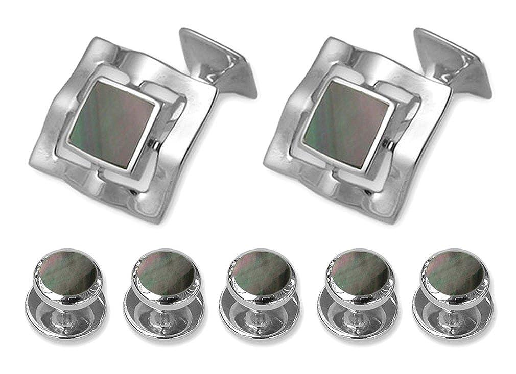Sterling silver black shell Cufflinks Shirt Dress Studs Gift Set