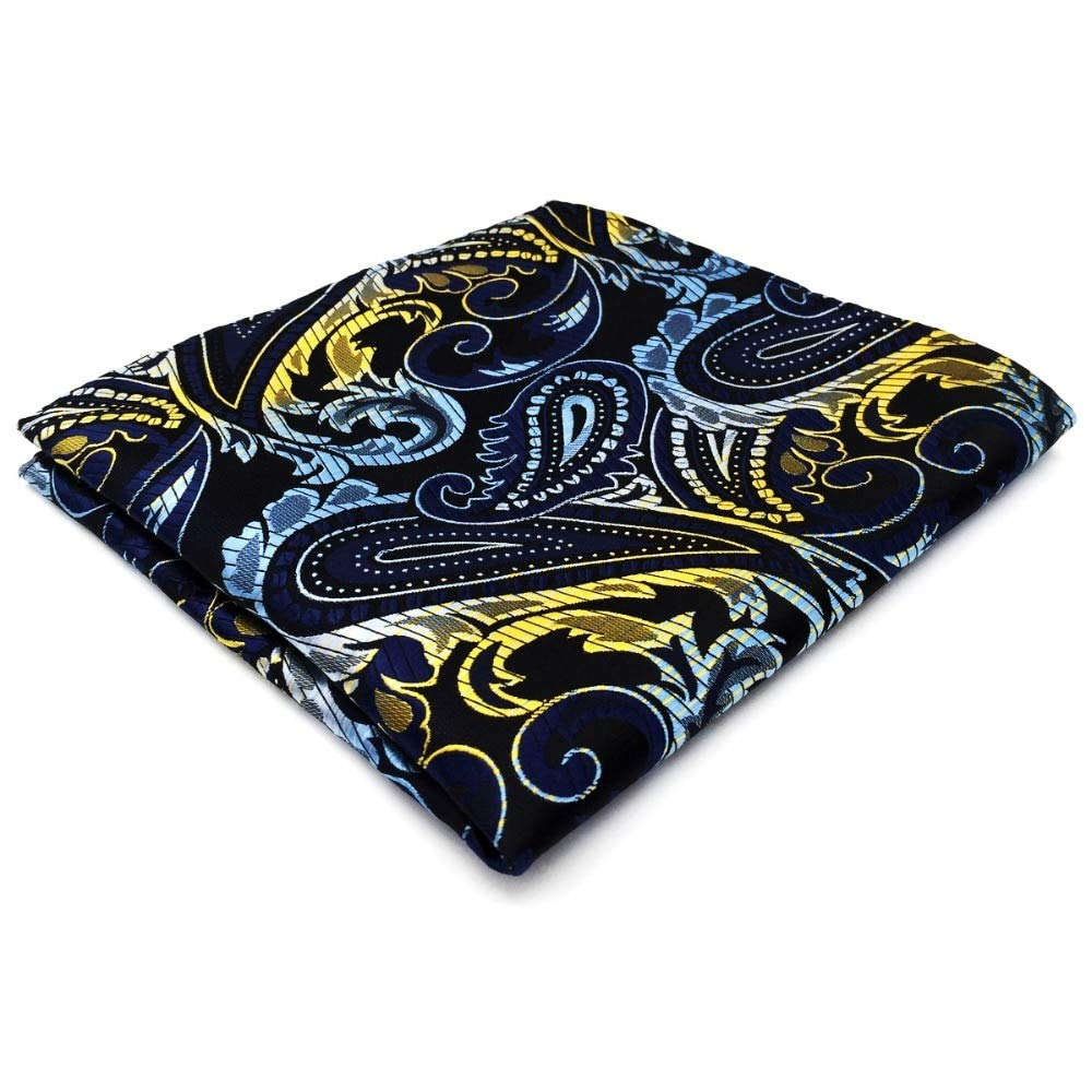 Shlax&Wing Paisley Blue Black Yellow Pocket Square Mens Hankies Hanky PH15