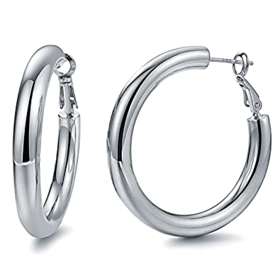 06c38ad3a0e37 Hoop Earrings 24K Gold Plated 925 Sterling Silver Post 5MM Thick Tube Very  Lightweight Hoops for Women And Girls