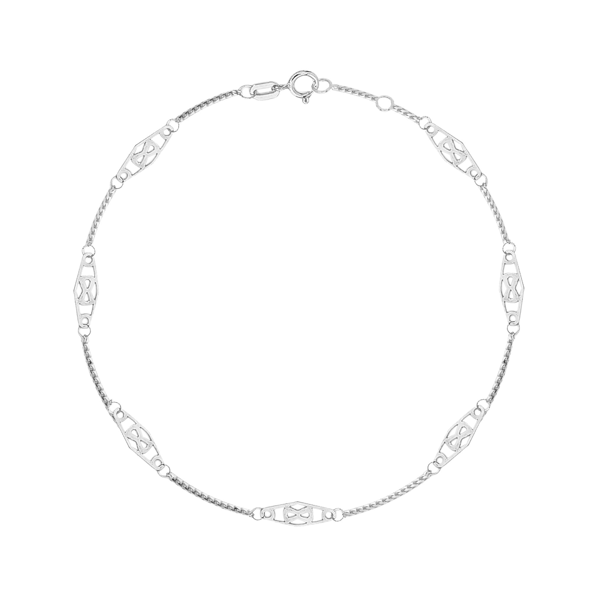 14K Solid White Gold Infinity Anklet 10 Inches