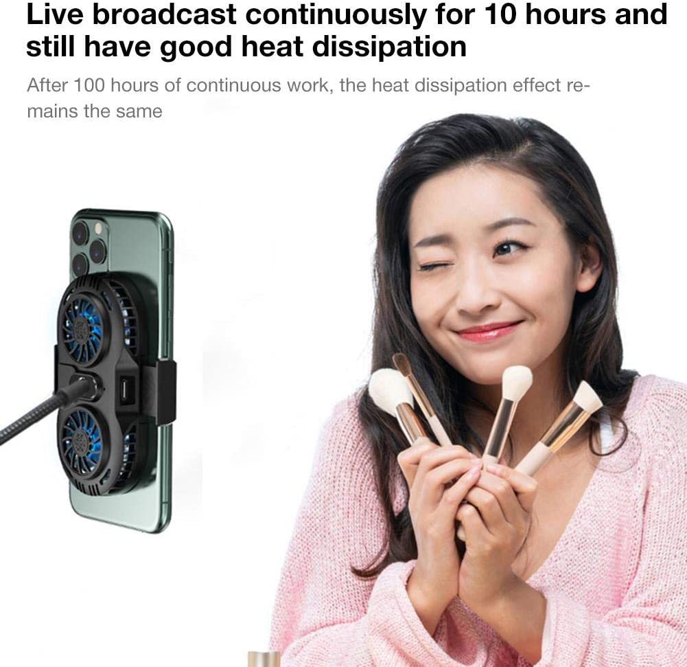 Phone Radiator Adjustable Universal Portable Gaming Mobile Phone Cooler Cooling Fan Holder Heat Sink for 4-6.5 Inches Mobile Phones