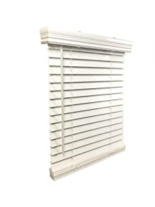 "US Window And Floor 2"" Faux Wood 24"" W x 72"" H, Outside Mount Cordless Blinds 24 x 72 White"