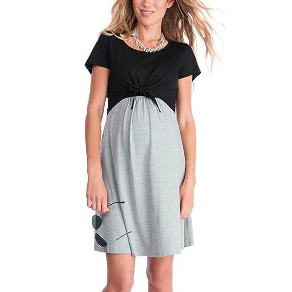 Ropa Embarazadas Vestido Premama Lactancia AIMEE7 Vestido De Lactancia Femenino con Correa Multi Funcional (S