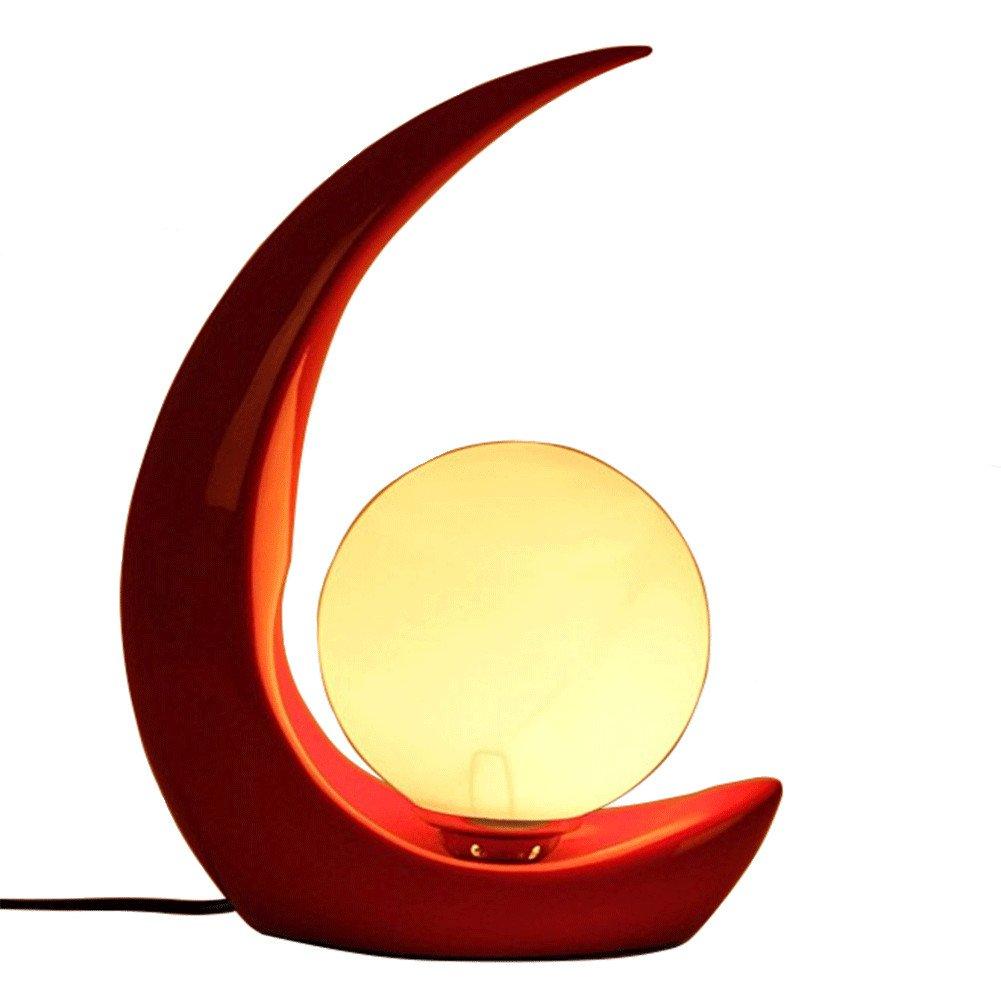 QINAIDI Mond Dekoration Tischlampe, Harz Tischlampe, Hochzeitsgeschenk Harz Tischlampe, Arbeitszimmer Tischlampe, Wohnzimmer Tischlampe E27 Rot