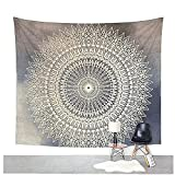 Dremisland Indian Wall Decor Hippie Tapestries Bohemian Mandala Tapestry Wall Hanging Throw (M, GREY FLOWER)