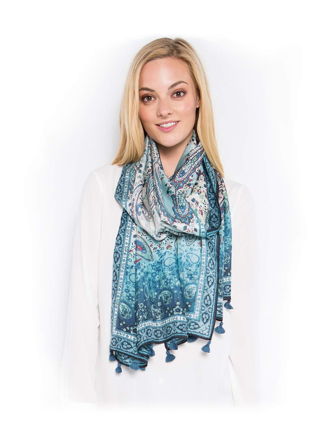 Fine Silk Scarf for Women-Luxury Fashion Print Extra Long Lightweight Wrap Shawl Headscarf by d'IRIS (Image #4)