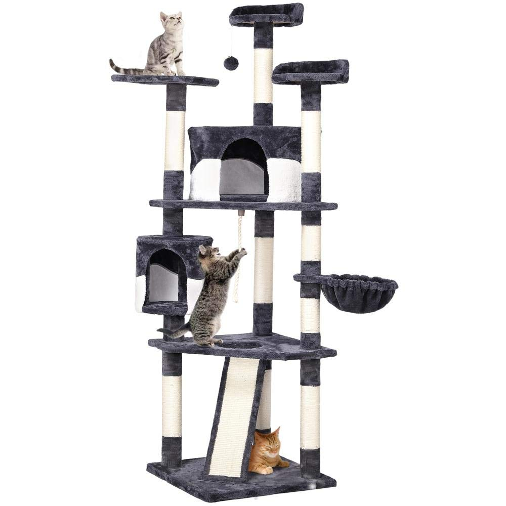 Yaheetech 79in Multi-Level Cat Trees with Sisal-Covered Scratching Posts, Plush Perches and Condo for Kittens, Cats and Pets - Gray and White by Yaheetech