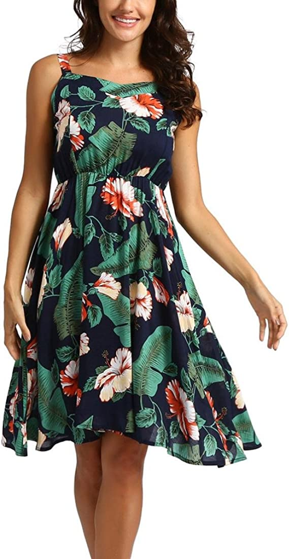SANFASHION Bekleidung - Vestido - Trapecio o Corte en A - Sin Mangas - para Mujer Marine 44 EU: Amazon.es: Ropa y accesorios