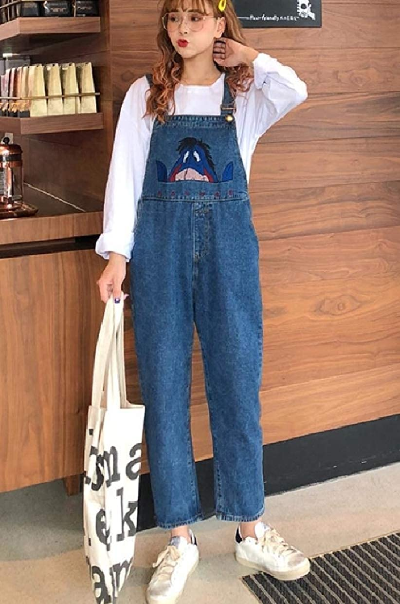 RDHOPE-Women Casual Leisure Jeans Vogue Loose Overalls Bib Playsuit