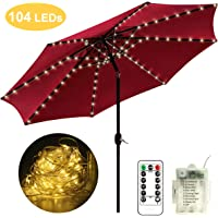 Patio Umbrella Lights, 104 LED String Decor Lights with Remote Control, Battery Operated Lighting Outdoor Garden Patio Backyard Camping Tents Accessories and Decor
