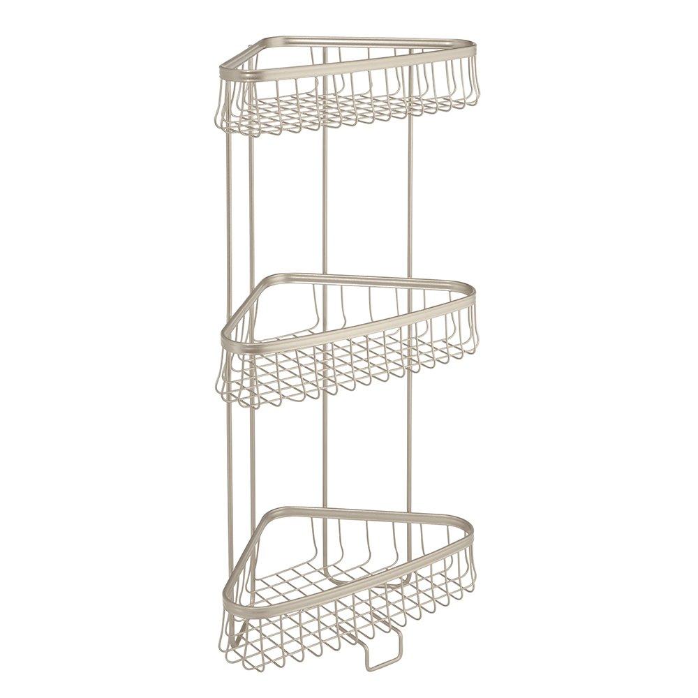 InterDesign York Lyra Free Standing Bathroom or Shower Corner Storage Shelves for Towels, Soap, Shampoo, Lotion, Accessories - 3 Tier, Satin 62885