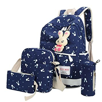 Bolso, Manadlian 4 juegos Mujer Niña Bolso Animales de Conejo Mochila de viaje Bolsa para la escuela Bolsa de hombro (Backpack:27*42*5cm, Azul): Amazon.es: ...