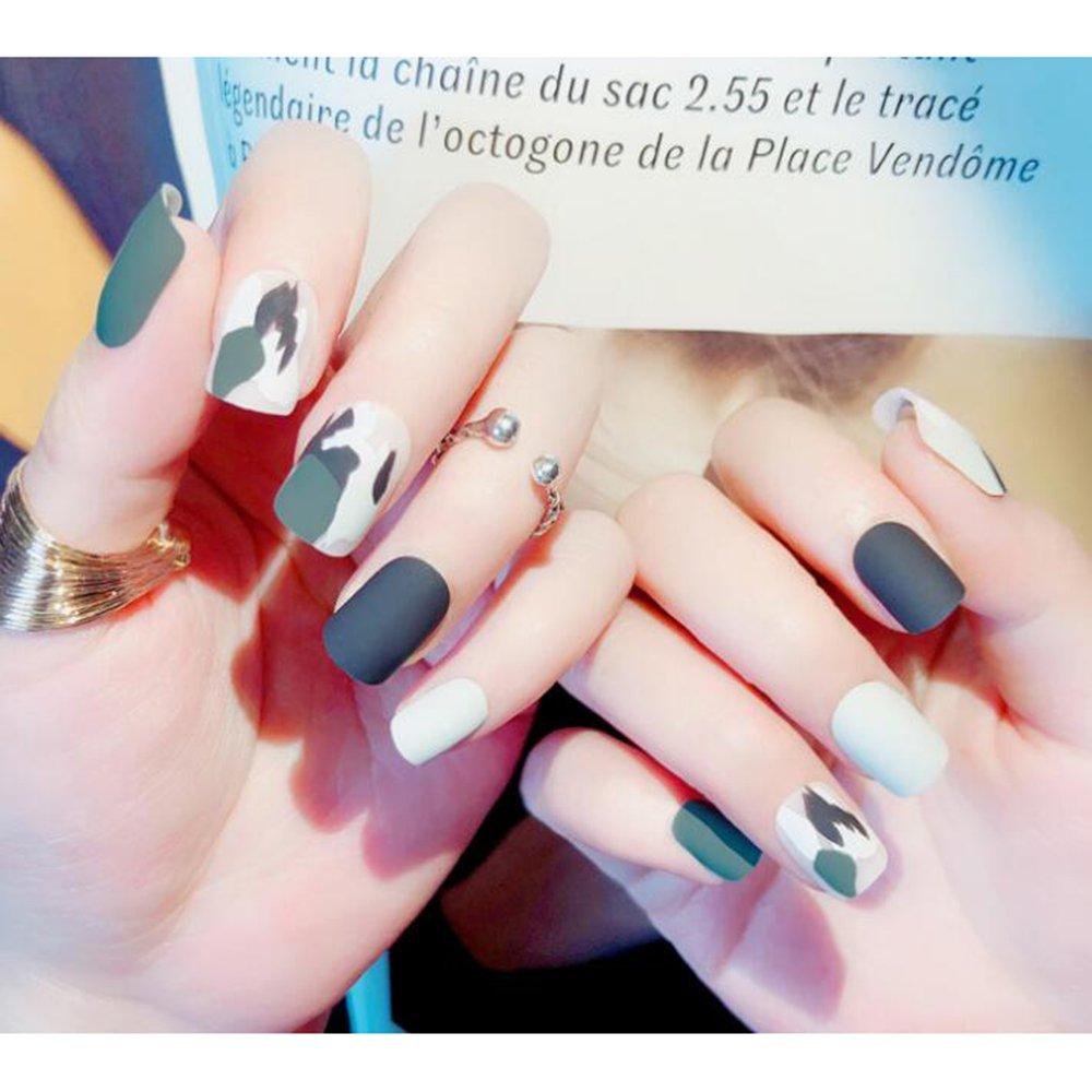 Dongcrystal 24pcs Camo Full False Nail Matte Short Fake Nail Tips Art Nail by Dongcrystal