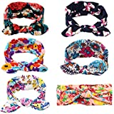 GBATERI 6pcs Baby Girls Elastic Headbands Headwraps with Bunny Ears Bow