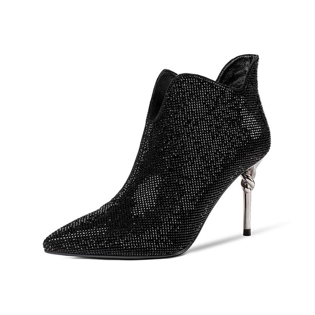 LVRXJP13 Damen High Heel Schuhe Stiefel Strass Leder Mode Spitze dünn mit Herbst und Winter Schuhe, 35