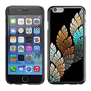 FECELL CITY // Duro Aluminio Pegatina PC Caso decorativo Funda Carcasa de Protección para Apple Iphone 6 Plus 5.5 // Black Teal Nature Leaf