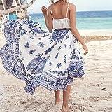Amiley Ladies Boho Tribal Floral Skirt Maxi Summer Beach Long Casual Skirt Dress (M, Blue)