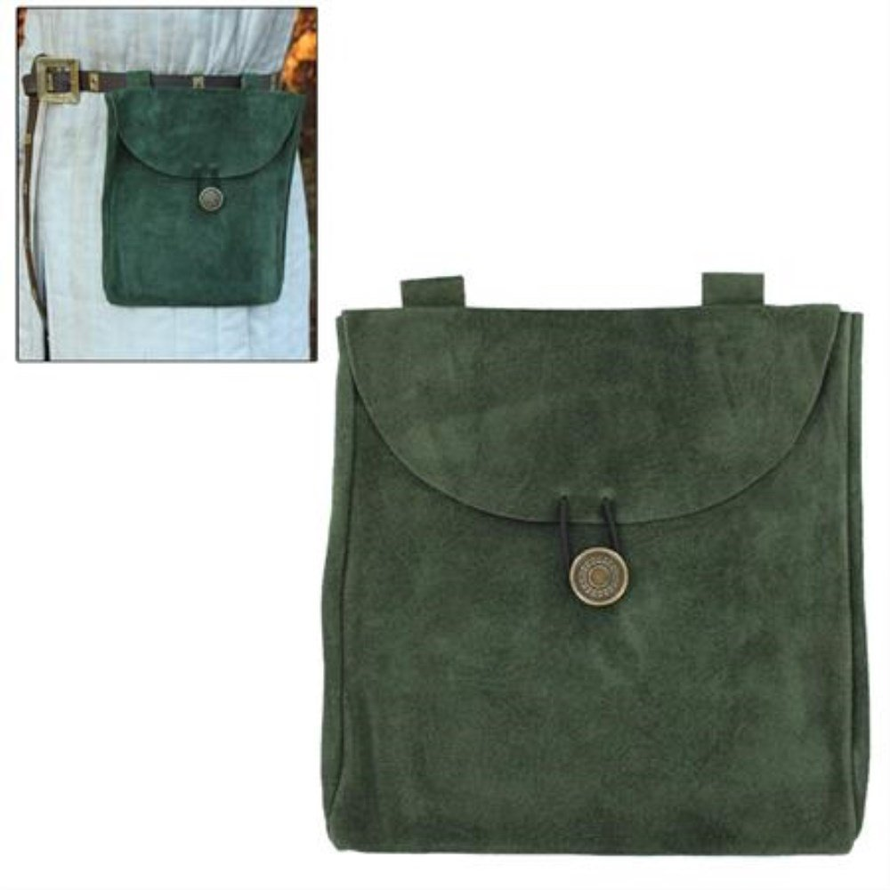 The Road Goes Ever Evergreen Large Medieval Renaissance Suede Leather Belt Pouch