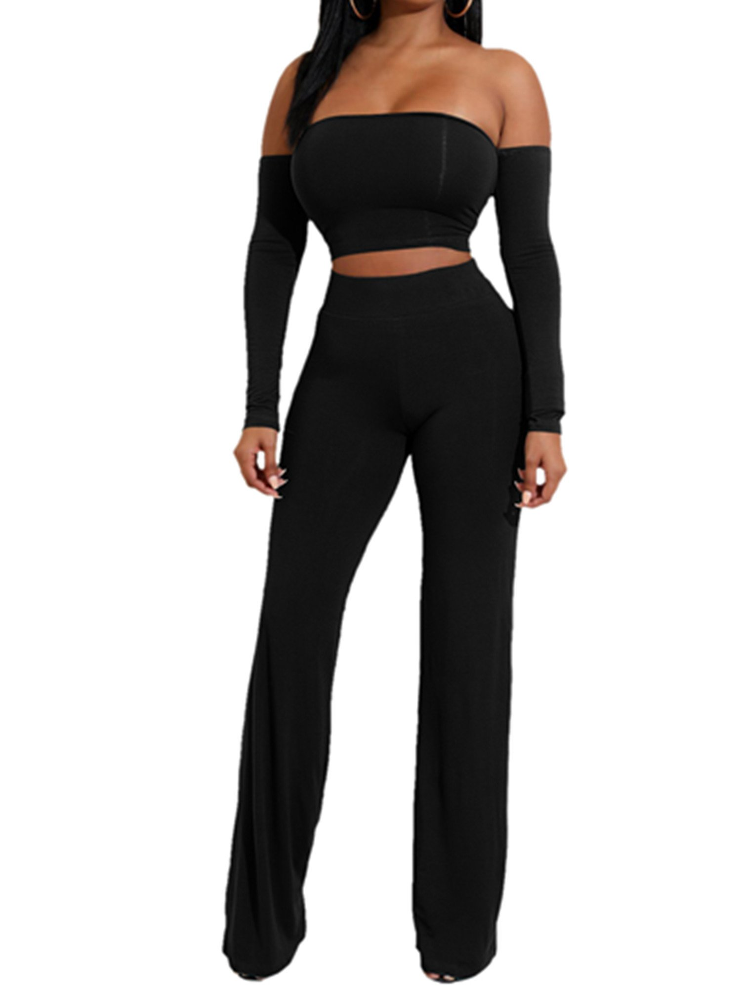 AVINE Womens Sexy High Waist Wide Leg Two Pieces Jumpsuit Bandeau Top Flared Trousers Pants (Small, Long Sleeve-Black)