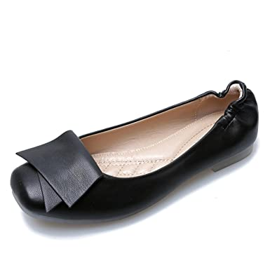 3af432766 Amazon.com: Woman Soft Waterproof Flats Shoes Casual Microfiber Slip-on  Loafers Spring Leather Mother shoes: Clothing
