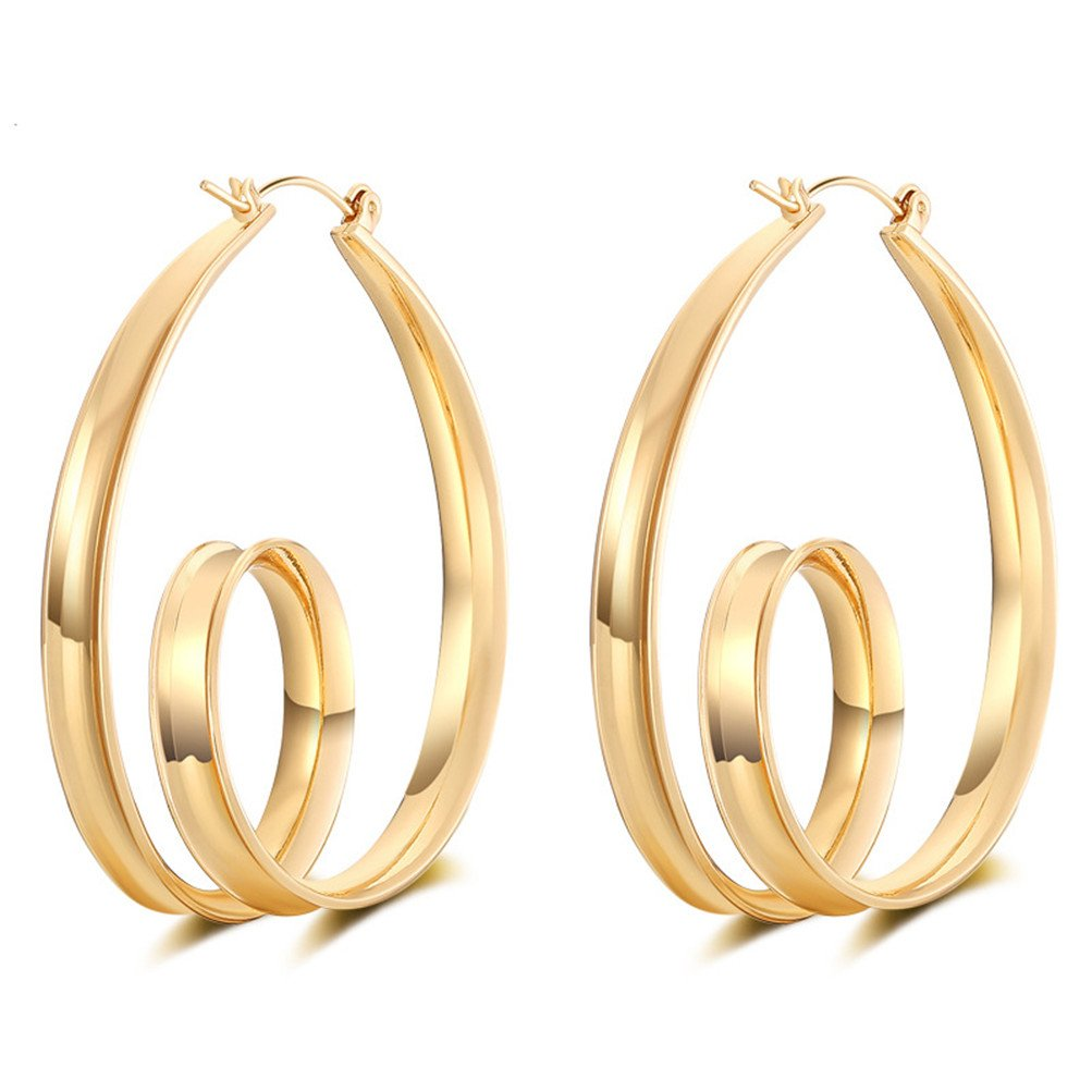 Metal Circle Clip on Long Tassel Hoop Earrings Art Deco Gift for Girls Women (G)