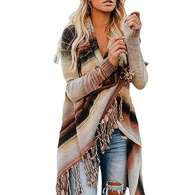 0f41efb4c7 Oksale Tassel Women Patchwork Long Sleeve Gradient Fringe Cardigan Tops  Sweater Coat (Coffee